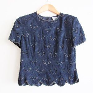 Adrianna Papell Occasions Beaded Blouse Blue Silk